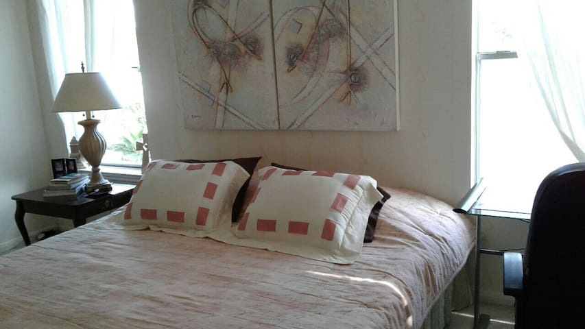 cozy king bed  & lake view - Pearland - Casa