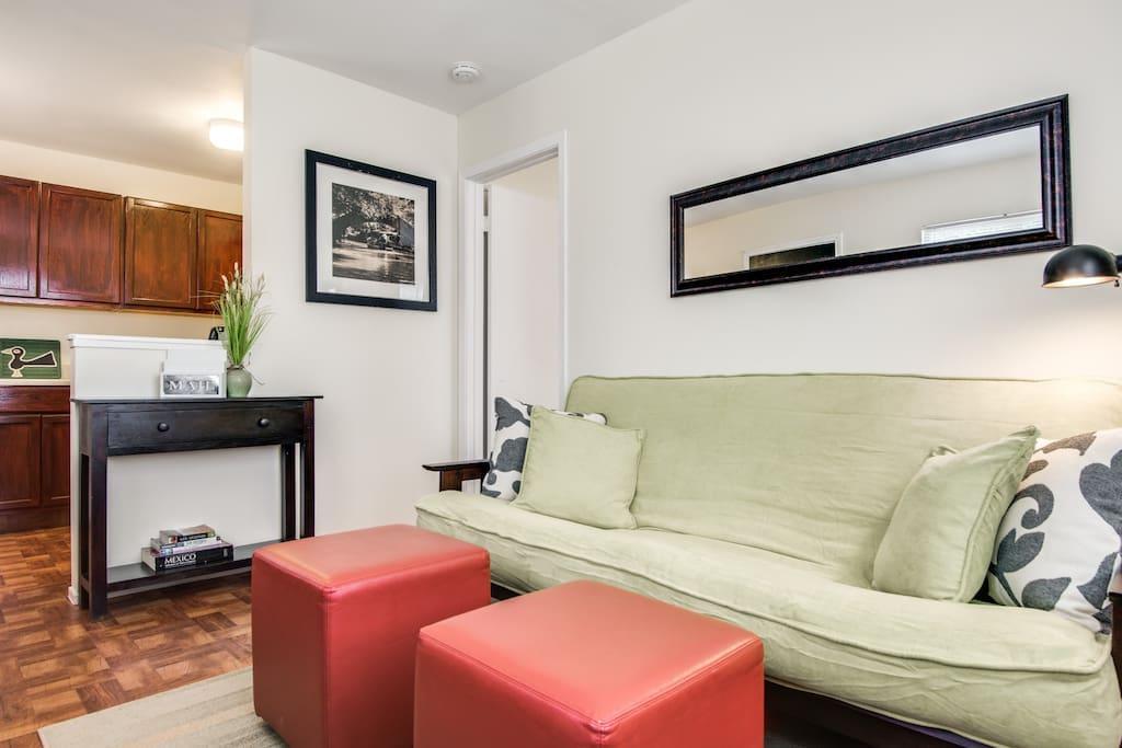 Extra sleeping area, futon sofa