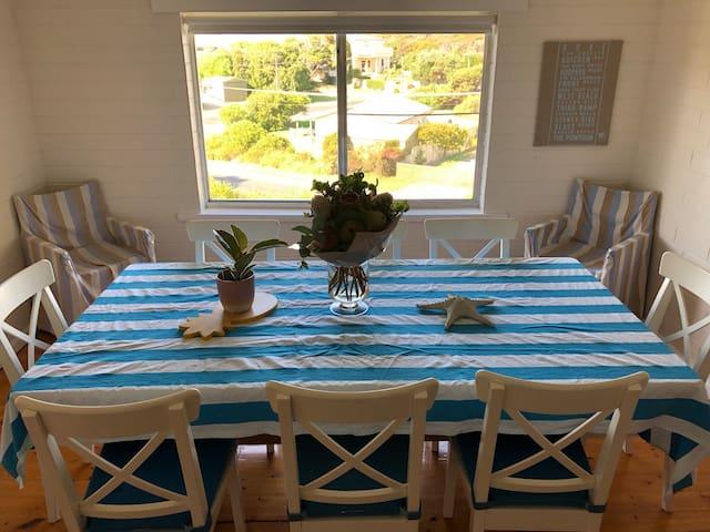 Dining area to seat 8 overlooking neighbourhood