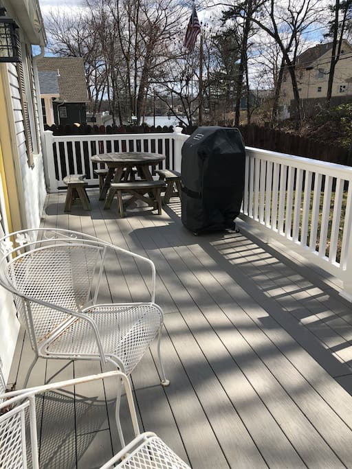 Our deck has a lake view, and all the chairs you'll need to enjoy your self.