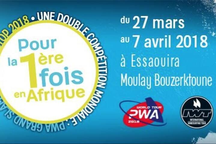 Sur le spot de la Morocco PWA Windsurf World Cup