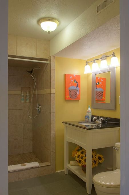 With fab shower