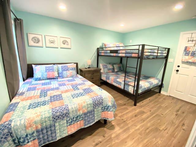 2nd Bedroom - Queen bed and a Queen over Queen Bunk all with memory foam mattresses