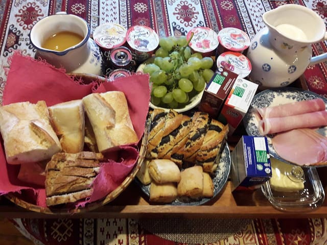 Exemple de petit dejeuner proposé en formule chambre d'hôte