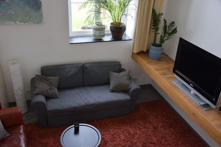 De zithoek met slaapbank die ruimte geeft aan nog twee extra personen.
