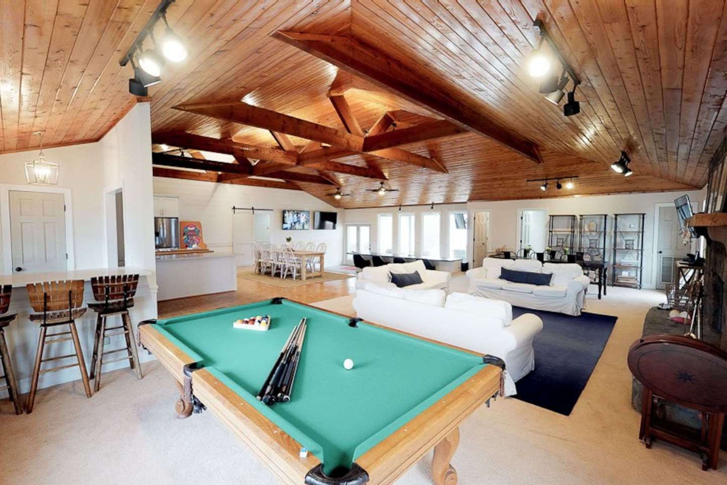 pool table in spacious living area