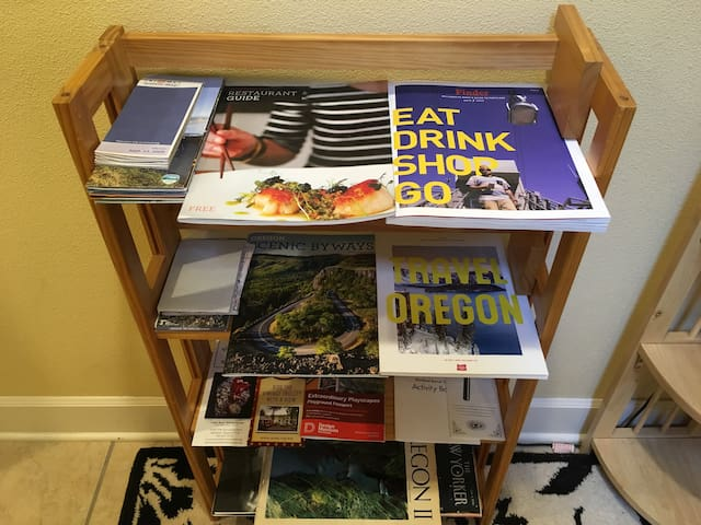 Shelf with tourist information and maps