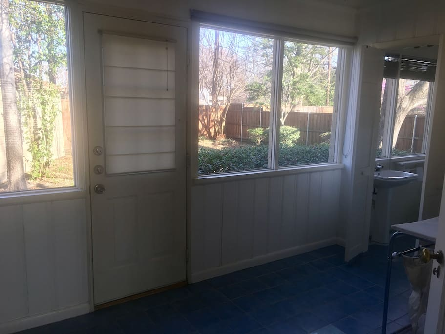 Backyard available for your enjoyment and a laundry room with washer and dryer