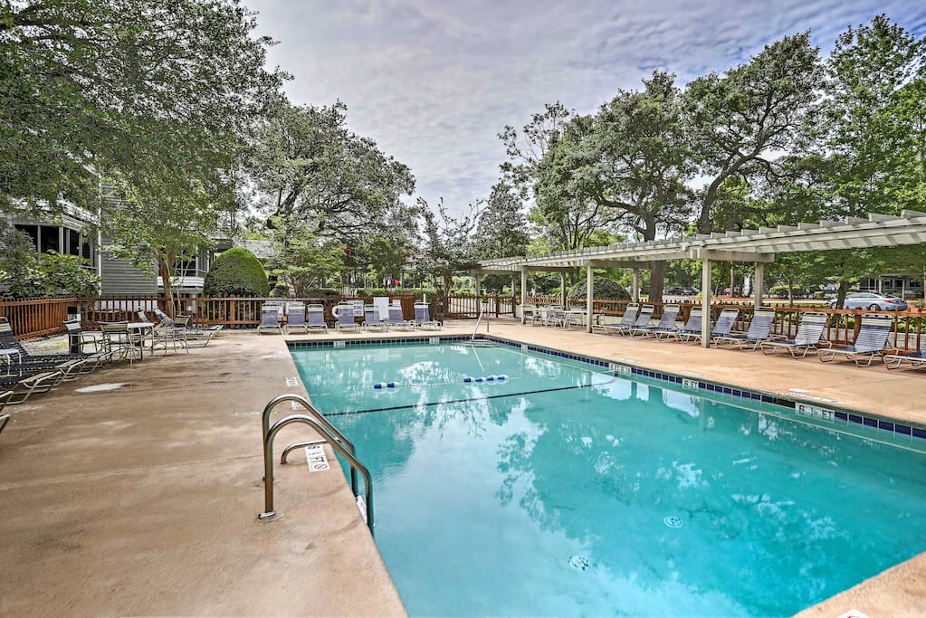 The 2-bed, 2.5-bath property provides access to 8 pools! Yes, 8!