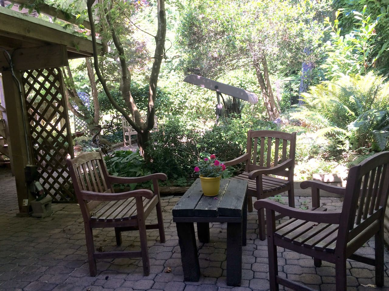 Creek side patio / outdoor living space.