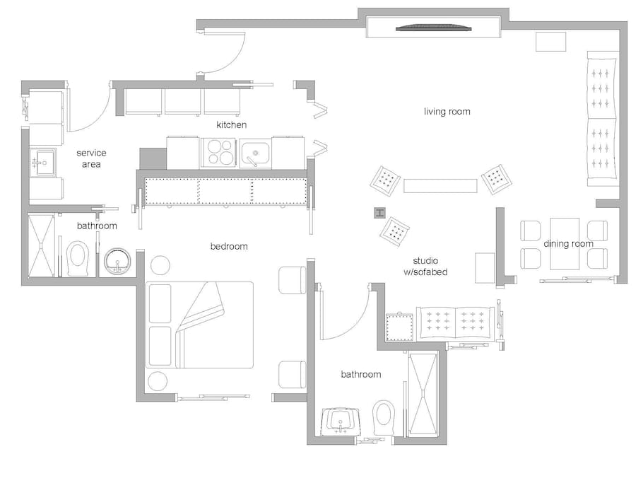 Apartment set with 1 bedroom