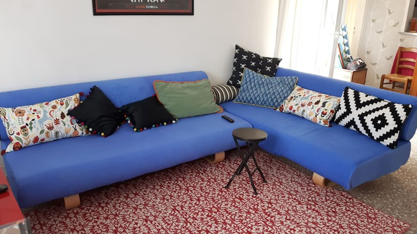 Living Room: the two settees transform into comfortable single beds.