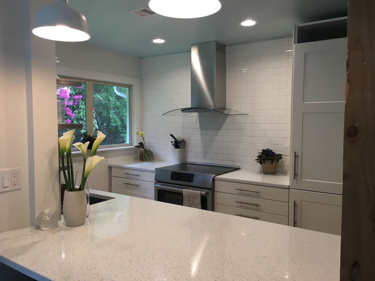 Remodeled kitchen with quartz countertops