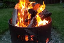 Fire pit. Please use firewood reasonably as we collect and cut all our own. But enjoy.