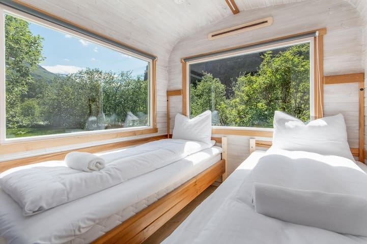 Great views of the valley, straight from bed. The sound of the Flåm river is an excellent sleeping aid, so you can wake up feeling well rested.