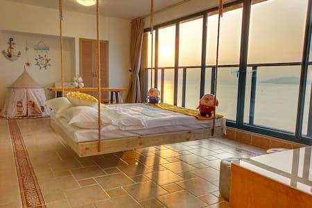 双月湾高层一线全海景特色网红吊床,儿童帐篷亲子两房一厅公寓,躺在床上看海上日落,完美