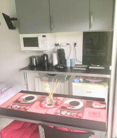 Kitchenette tout équipé  ,vaisselle,micro onde ,frigo ,grille pain Cafetiere etc..