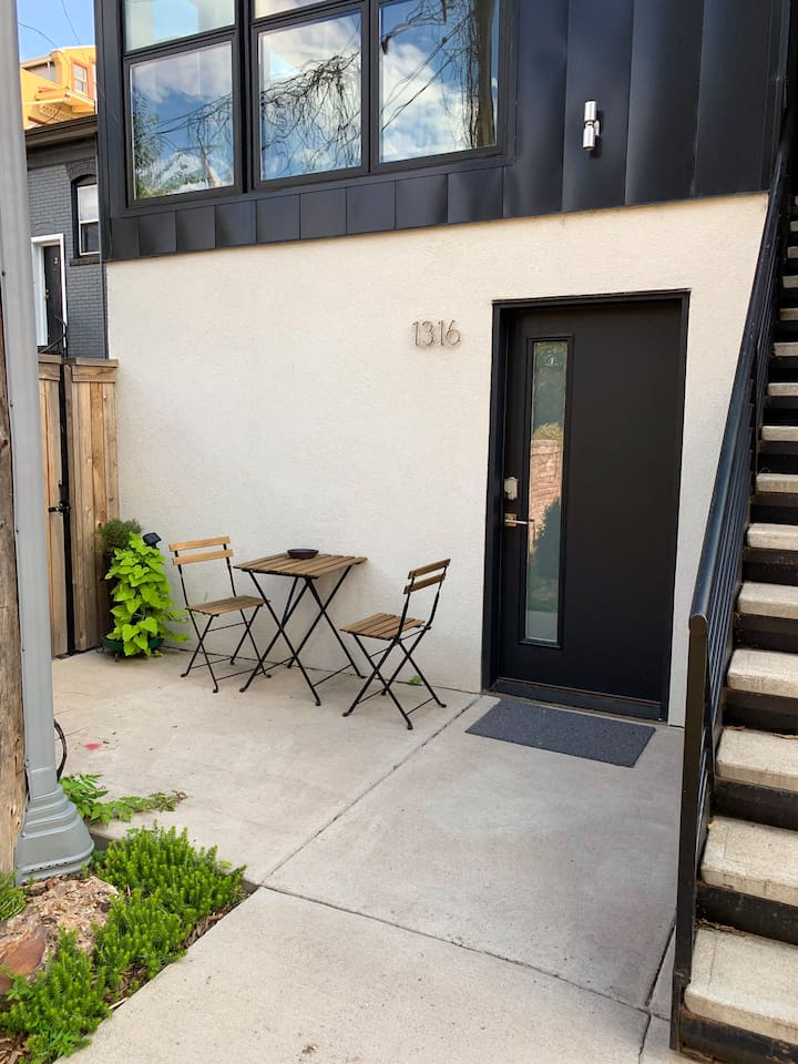 private coded keyless entry with partially shaded patio from the morning to mid day (smoking allowed on patio)