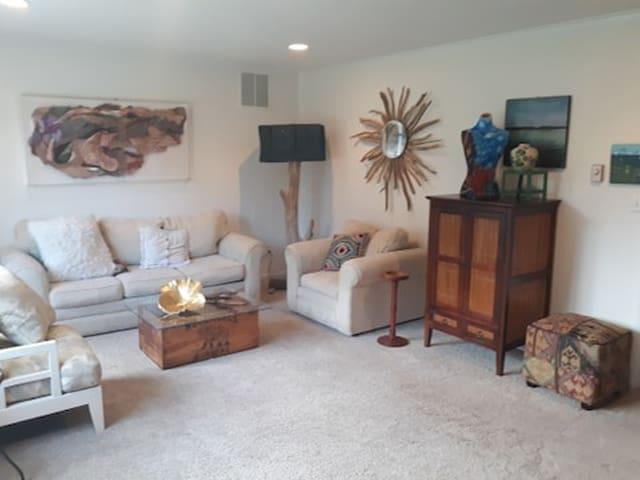 Shared livingroom area...free WIFI...large TV with Roku, Amazon Prime, Netflix, Gaia, local channels