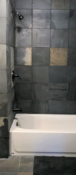 Newly tiled shower