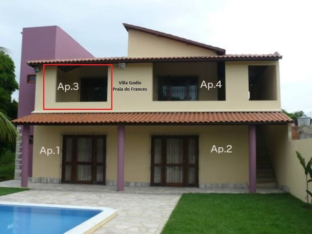 Apartamento em linda casa Praia do Frances App.n.3 - Marechal Deodoro - Departamento