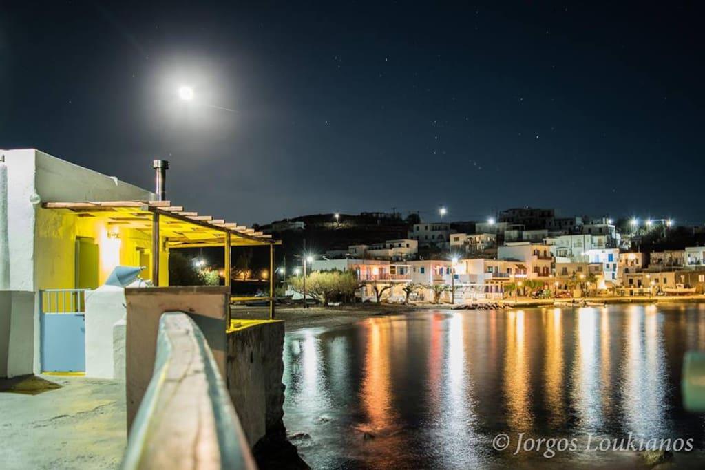 Mooring Place and Faros Beach at night!