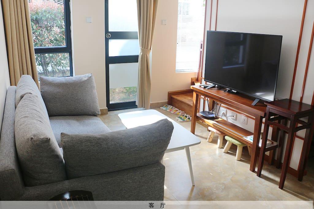 客厅配有全尺寸双人沙发、49寸飞利浦智能电视。