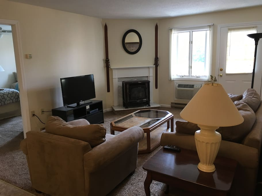 Living room with Flat Screen TV, WIFI Enabled DVD player with Netflix capability, and AC