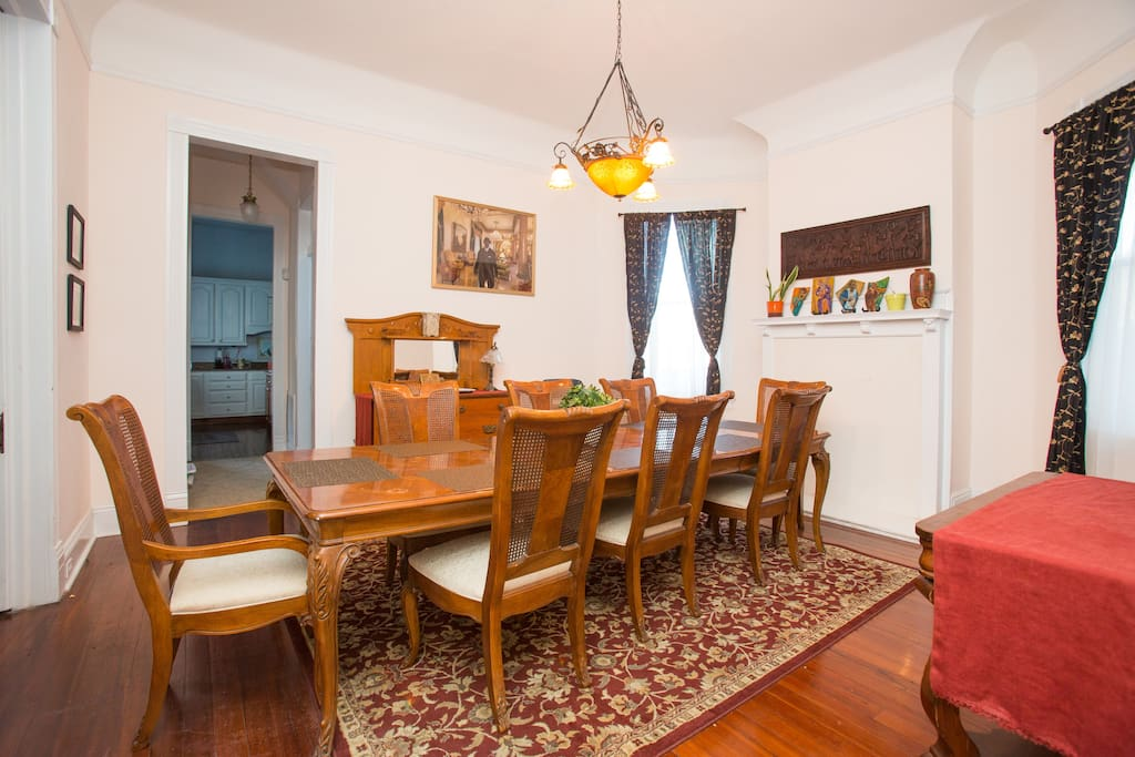 Spacious dining room with seating for 10