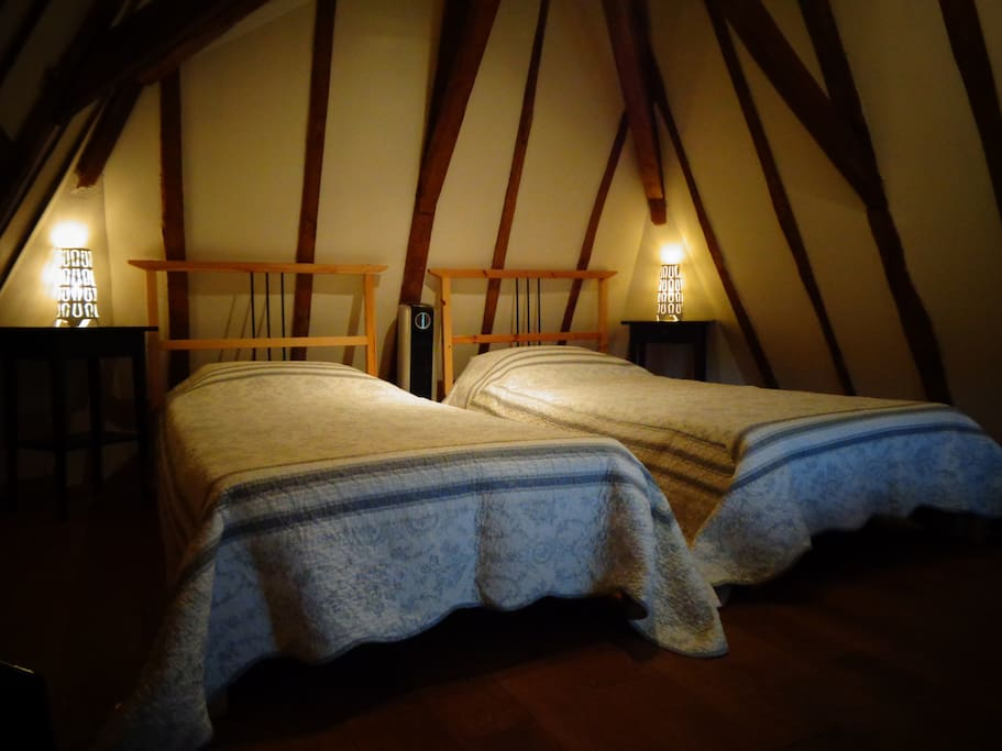 Twin bedded room in the attic