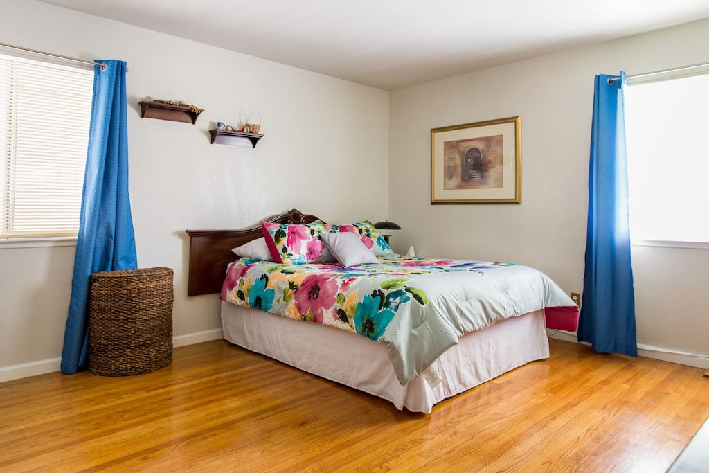 The master bedroom has a really comfy queen sized bed!
