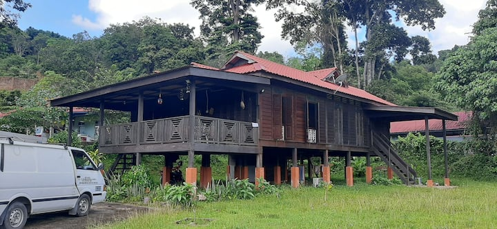 Traditional Minimalist Wooden House In Paddy Field