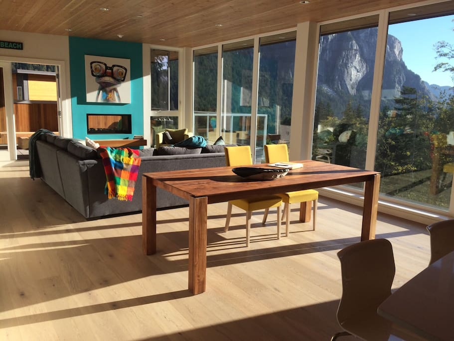 Sun soaked living space.  We have 8 dining room chairs now!