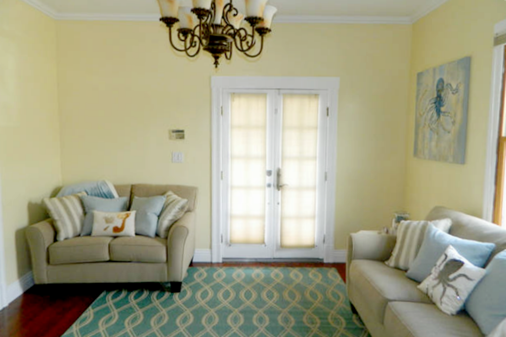 Walk in the front door to a cozy living room environment.