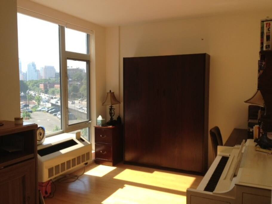 bedroom with murphy bed up