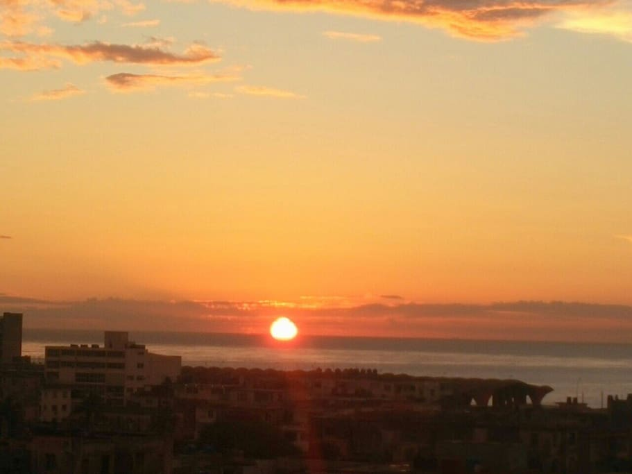 Spectacular view of the sunset from the balcony of the house.