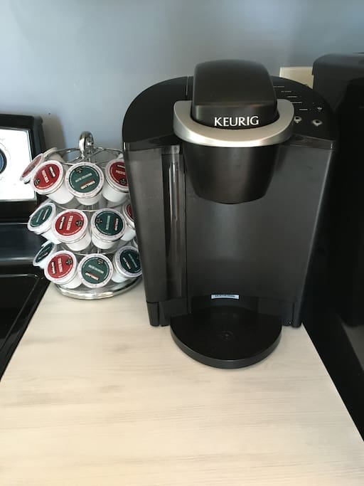 Complimentary Keurig coffee maker in the kitchen.