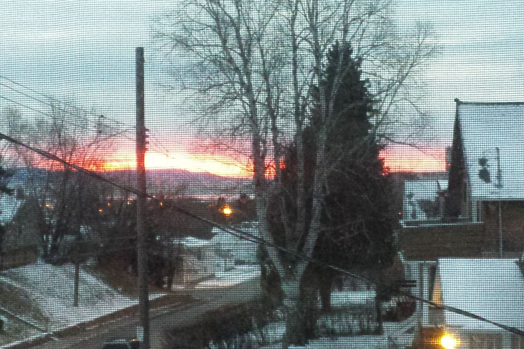 Sunrise over the Sleeping Giant, taken from bed in the yellow room