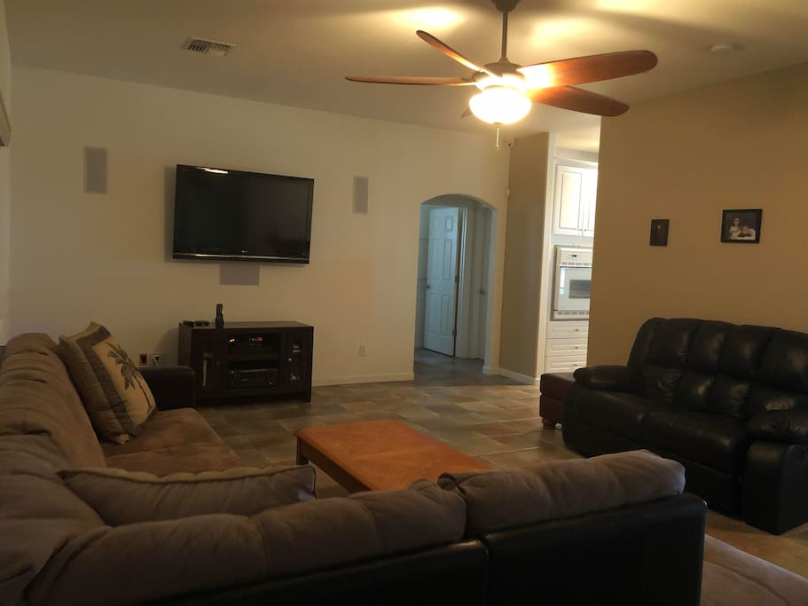 Comfy living area with surround sound and DirecTv
