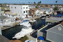 View of Huntington Harbor canal from the rooftop deck.