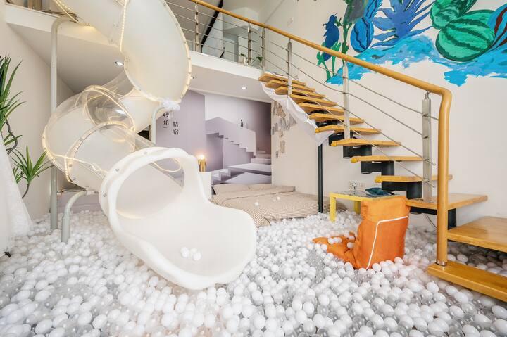 【无锡转角精宿】家有4套滑梯婚纱主题民宿 一万两千个海洋球/80后复古电玩街机/城景高层全景落地窗