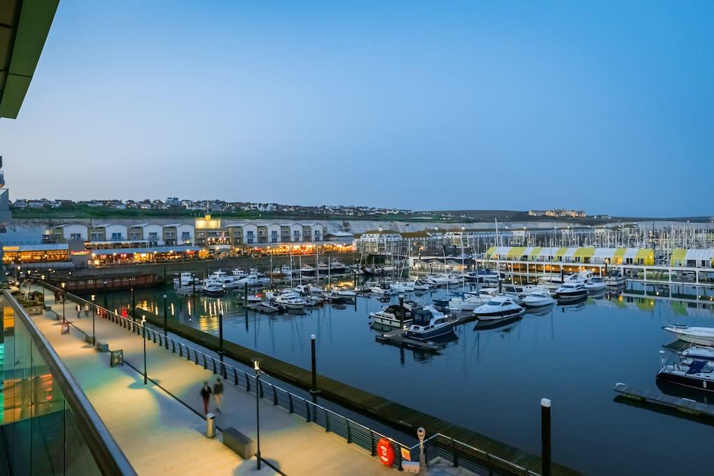 View from the balcony, across the marina
