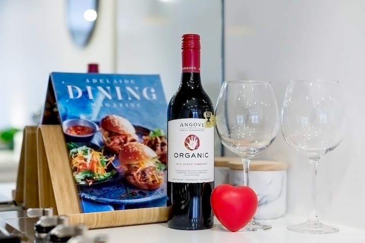 With compliments from me.... I try to supply each guest with a bottle of wine when possible! At the moment Im trying out some random new South Australian wines as a gift from me to you.
