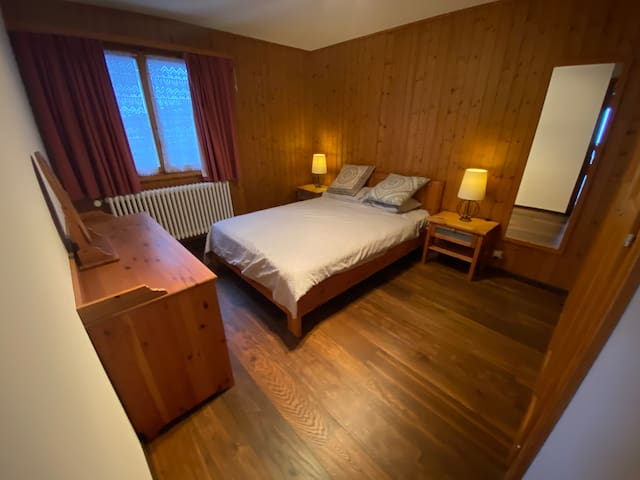 The bedroom faces the more quiet and restful side of the residence. Two closets allow for substantial storage.