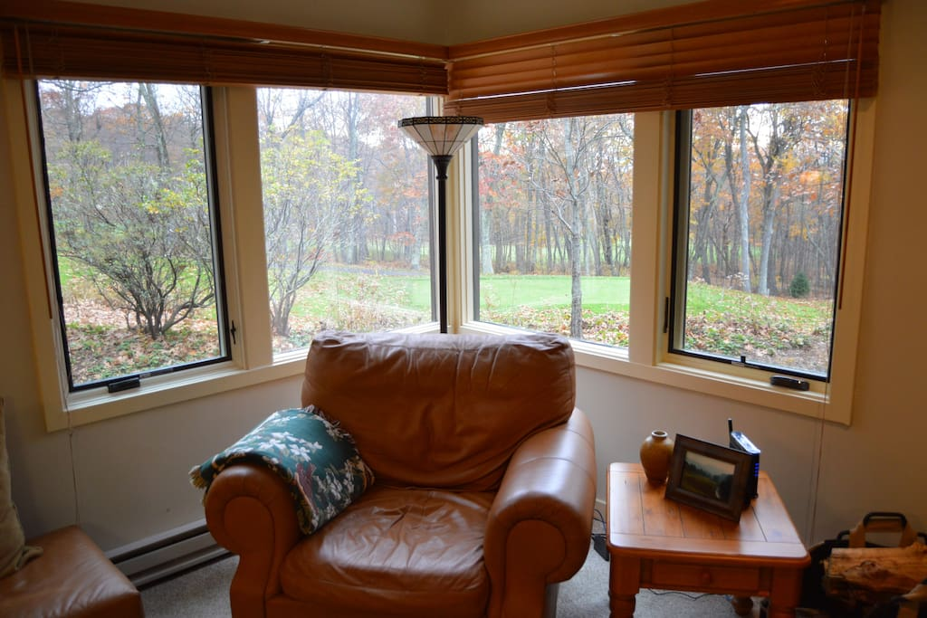 Sit on the sofa and absorb the view while visiting in front of the fireplace!