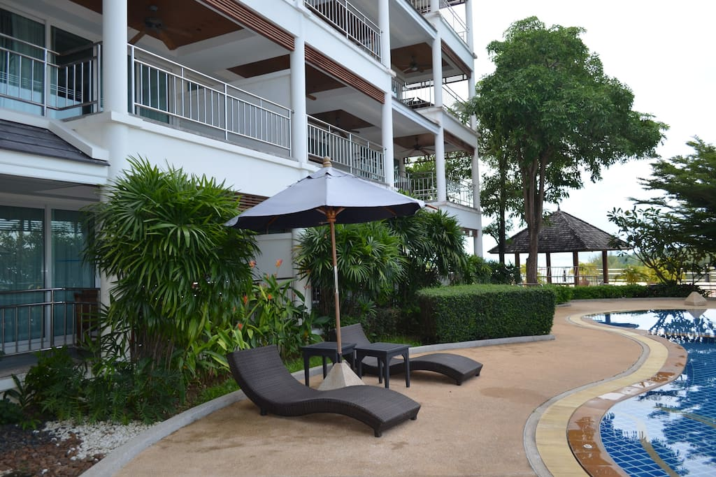 Relax poolside or in one of the 3 gazeebo's