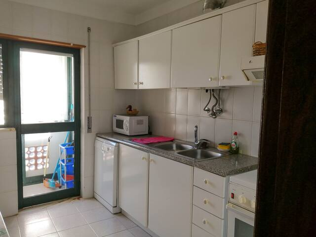 Kitchen has gas stove and oven