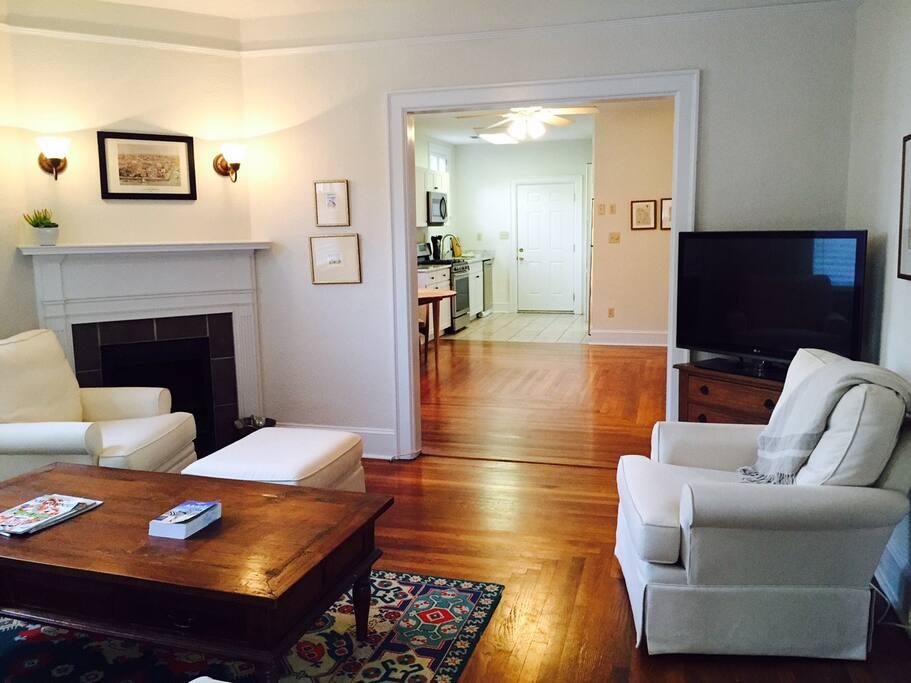 living room - beautiful original hardwood floors and open floor plan throughout