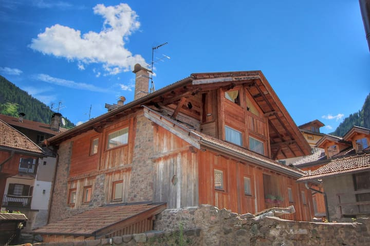 Modern maso in the Val di Fiemme, ideal for summer and winter, garden