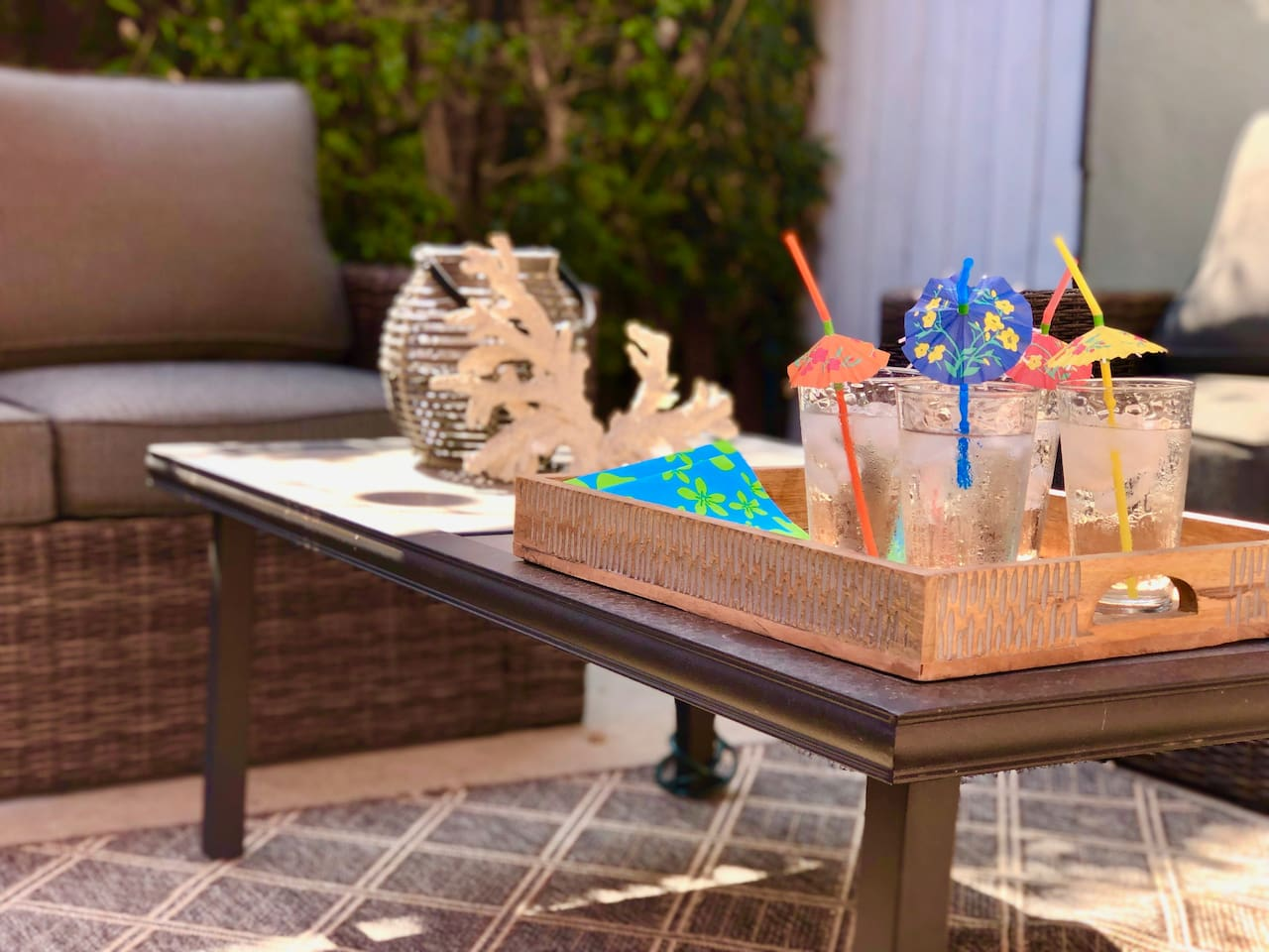 Relax on your Private Patio with lounge seating, coffee table, umbrella and cafe lighting, great for our warm SoCal evenings, or chilling out after a rough day at the beach.